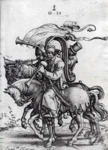 13 - Török hadi-muzsikusok - trombitás és két oboista lovon.